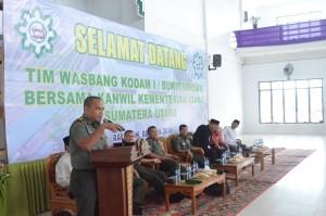Sambutan Tim Wasbang DAM 1 BB Bpk. Kapten.  Infantri Am Marpaung (Danramil 01 Medan Barat) di Pesantren Ar Raudlatul Hasanah