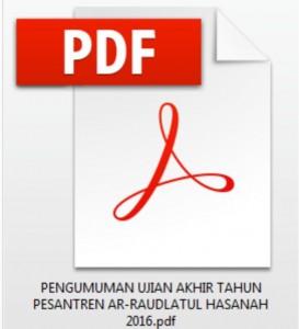 Download pdf PENGUMUMAN KELULUSAN SANTRI-SANTRI WATI PESANTREN AR-RAUDLATUL HASANAH