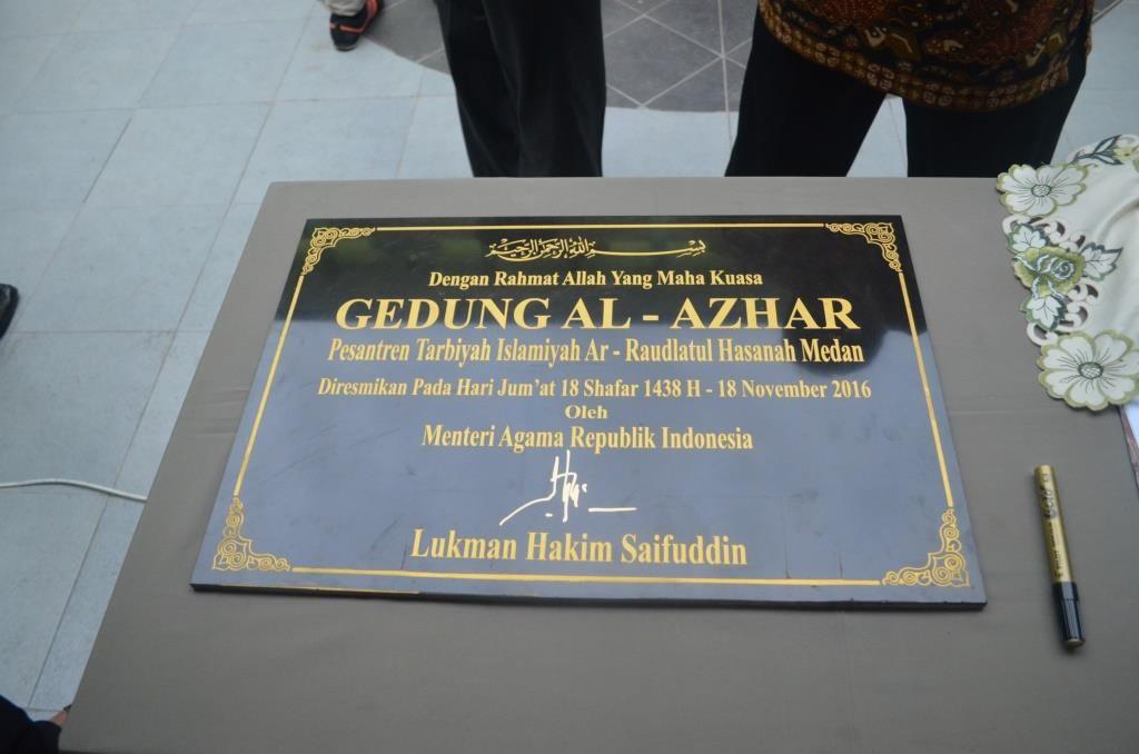 Prasasti Peresmian Gedung Al-Azhar Pesantren Ar-Raudlatul Hasanah