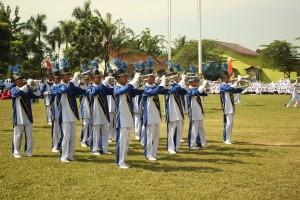 Marching Band Ar-Raudlatul Hasanah mengisi acara di Taman Kanak-Kanak Siti Hajar