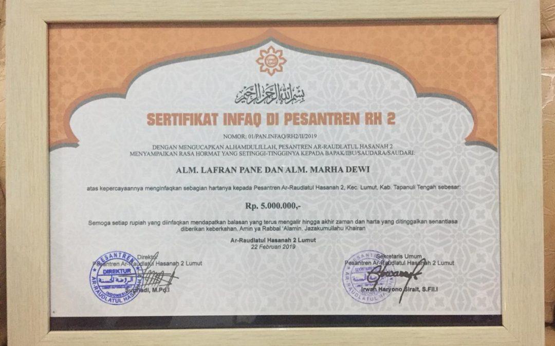 Pesantren RH 2 Lumut Terima Zakat Harta dan Infaq Tunai Rp. 10.000.000,- Dari 'Muhsinin'